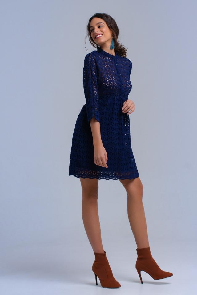 Navy midi dress with crochet
