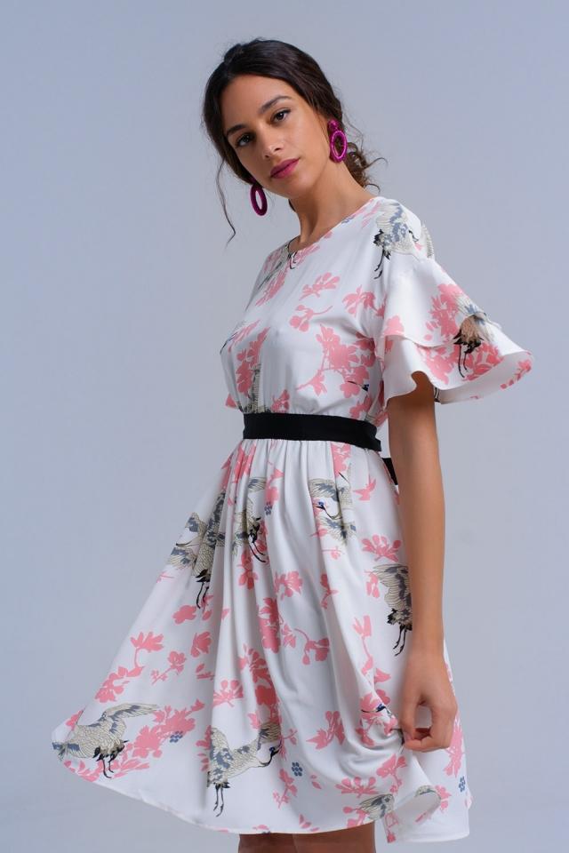 Weißer bedrucktes Kleid