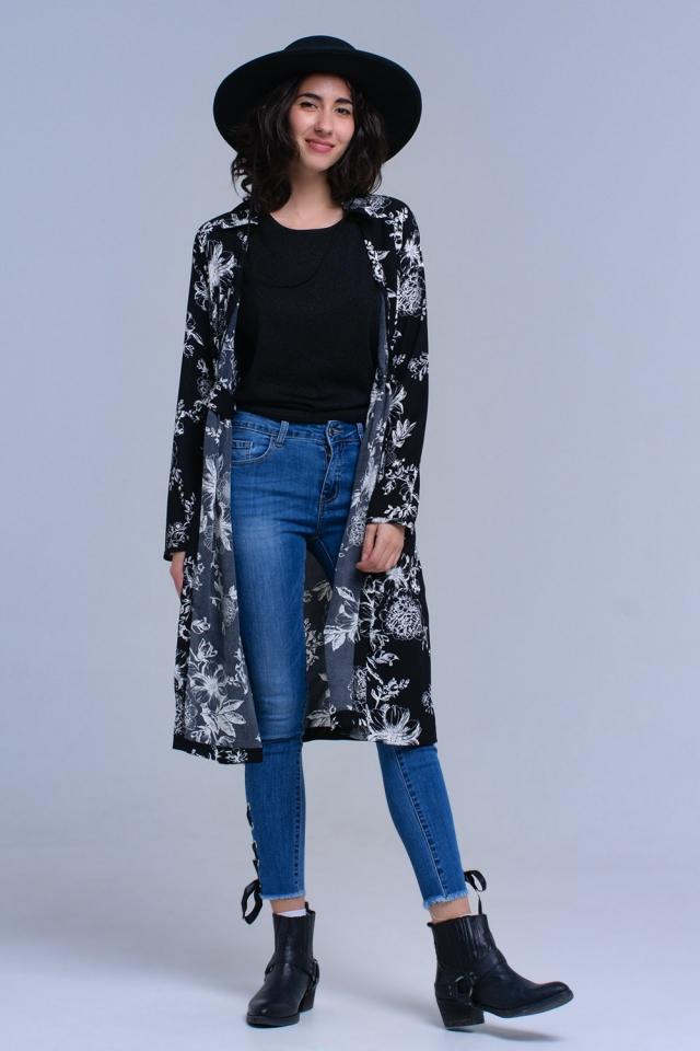 Black flower printed crossed dress