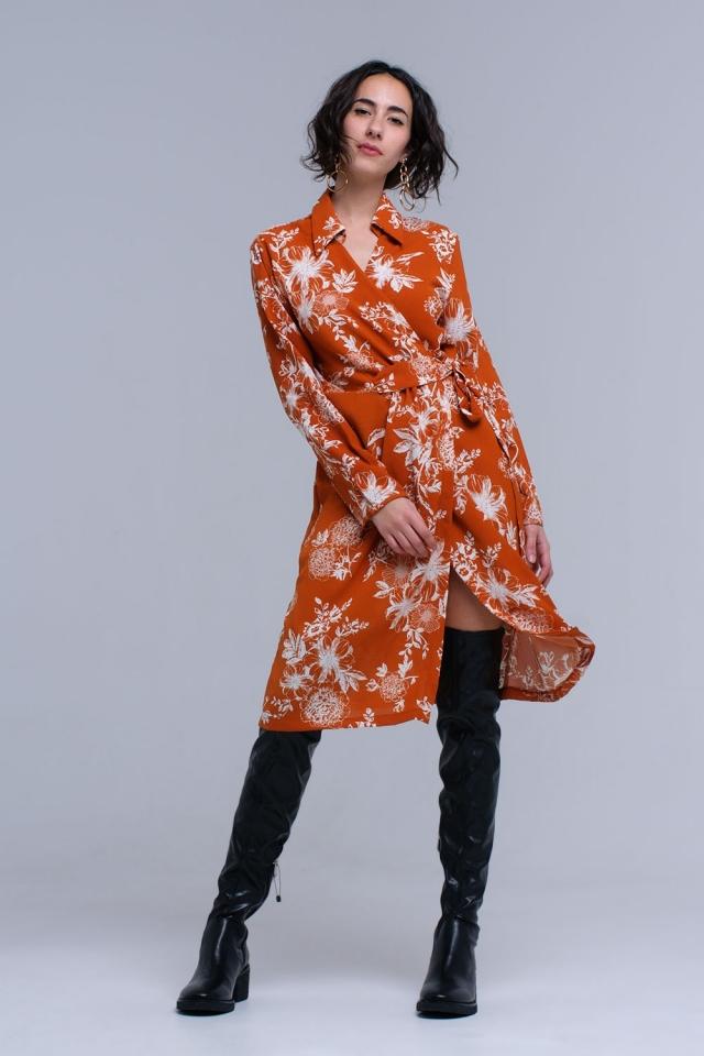 Orange flower printed crossed dress