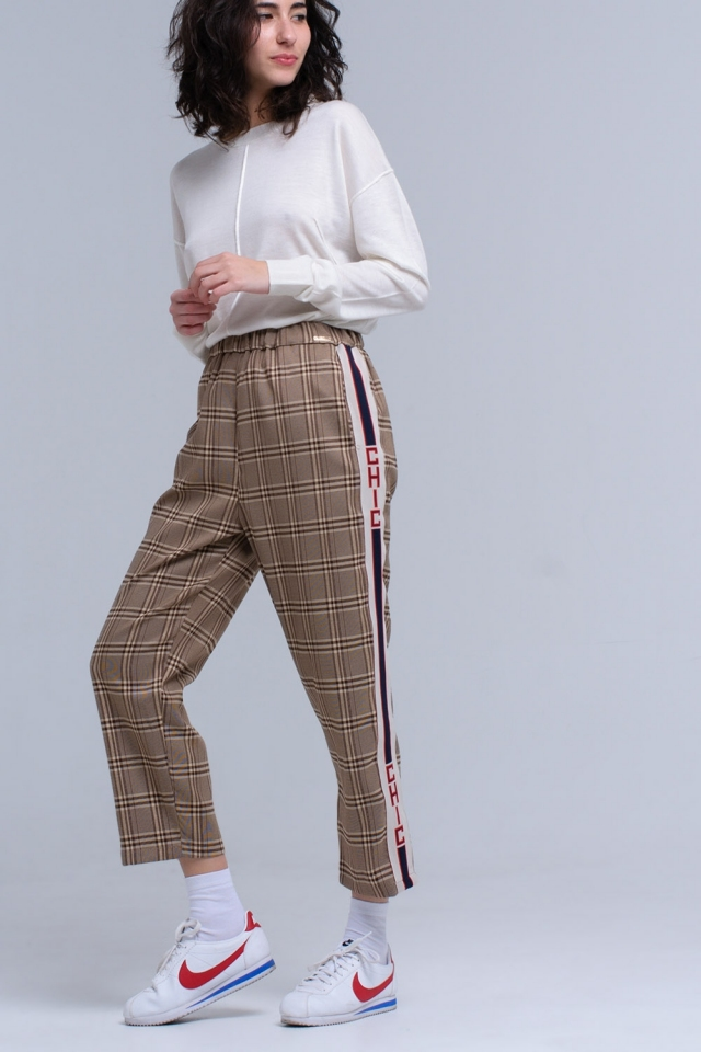 Brown tartan pattern pants