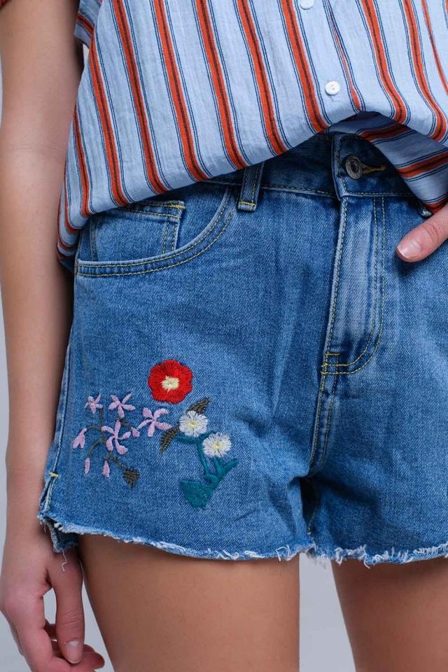 Denim mid wash blue short with floral design