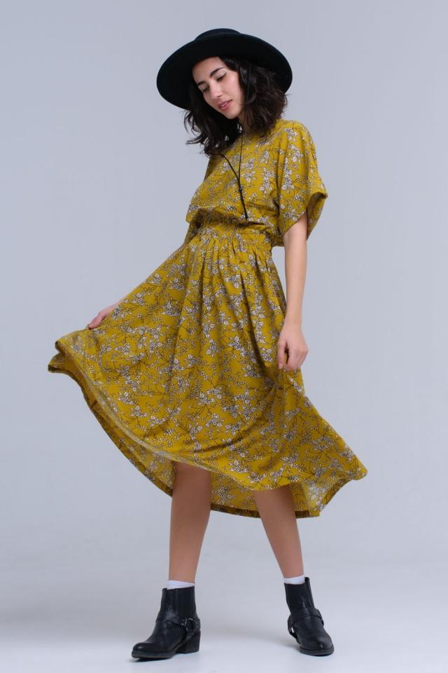 Yellow flower printed maxi dress