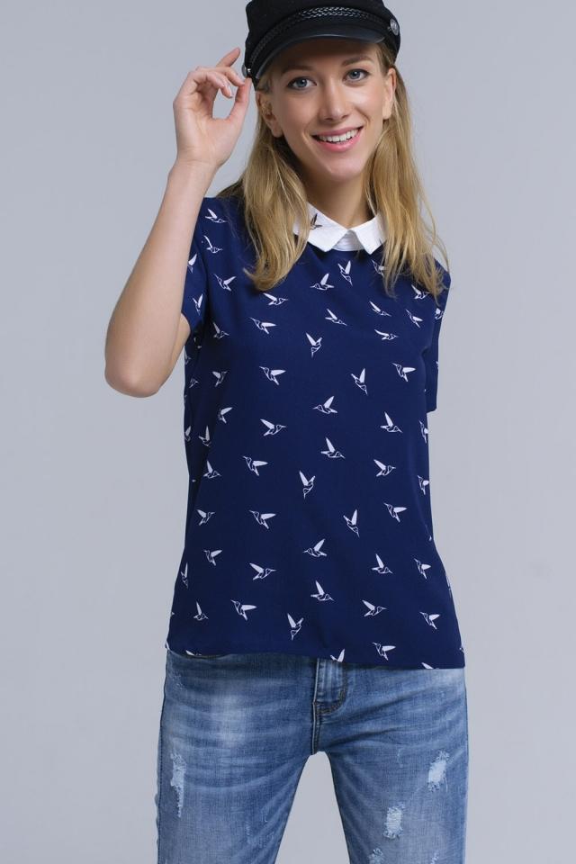 Marine Shirt mit aufgedruckten Vögeln