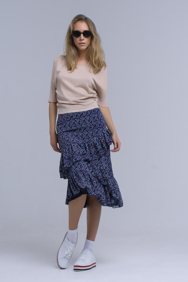 Navy printed skirt with ruffles