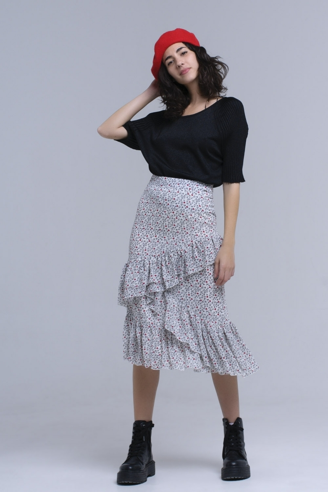 White printed skirt with ruffles