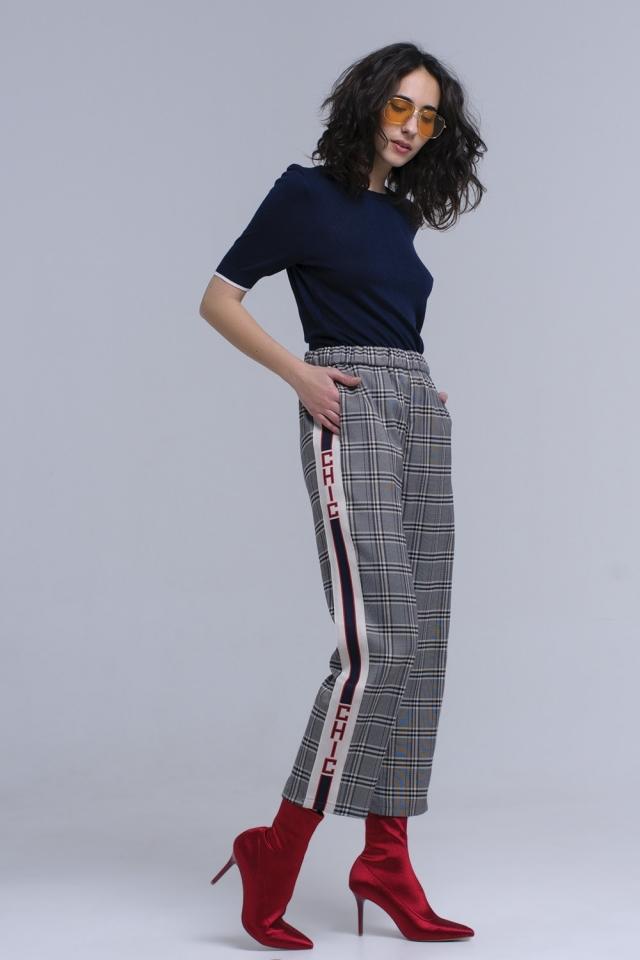 Navy tartan pattern pants