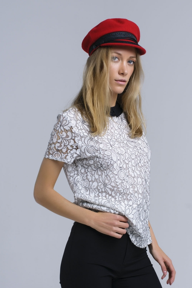 White top with crochet detail