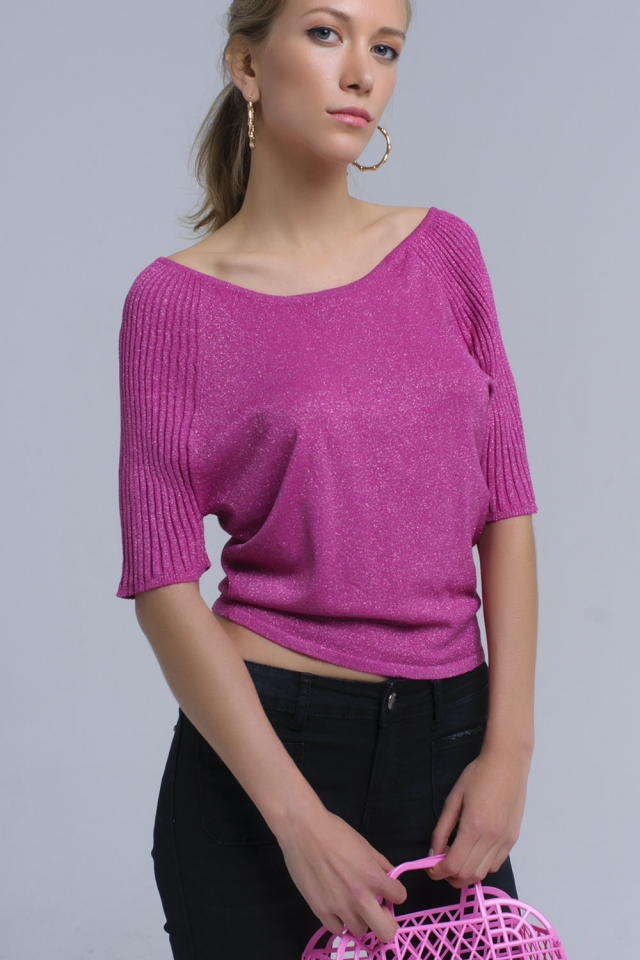 Fuxia shiny sweater with ribbed sleeves