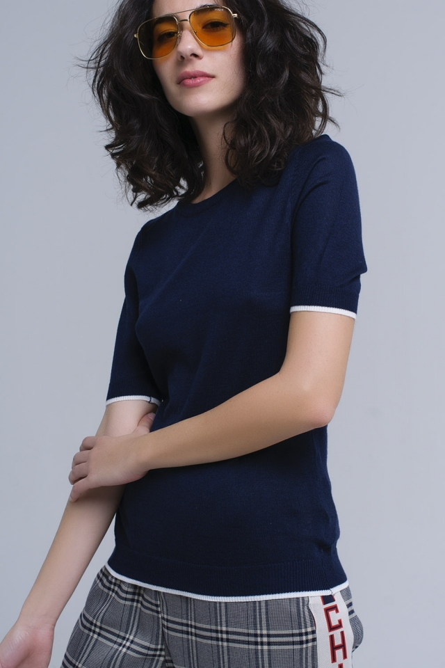 Navy short sleeves sweater