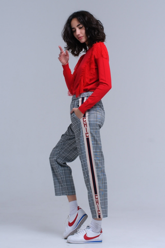Black tartan pattern pants