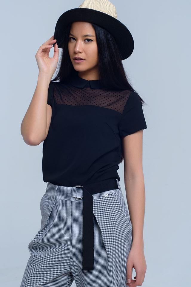 Black shirt with polka dot detail