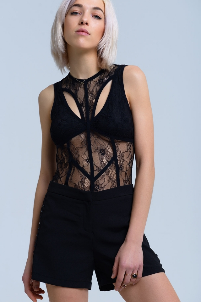 Black lace body with cross detail