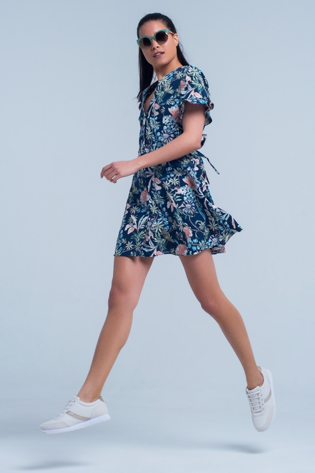 Short sleeve navy dress with floral print