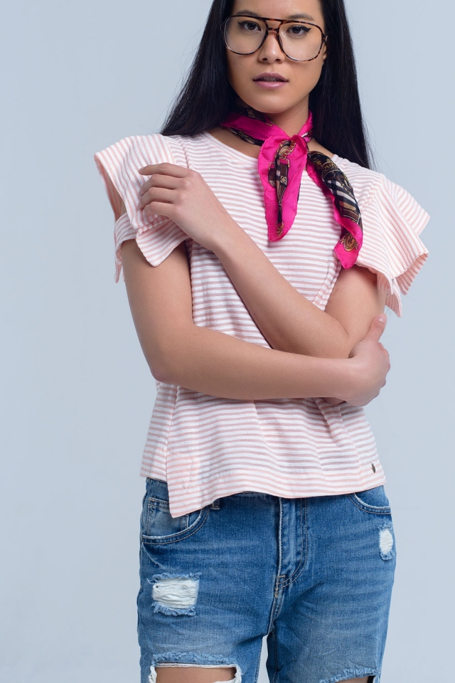 Pink stripes short sleeve tee