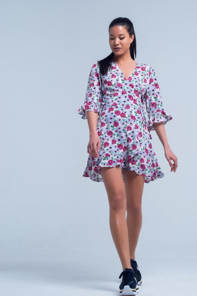 Fuchsia tea dress with floral print