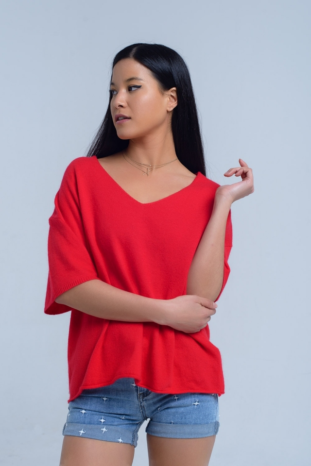 Short sleeve red sweater