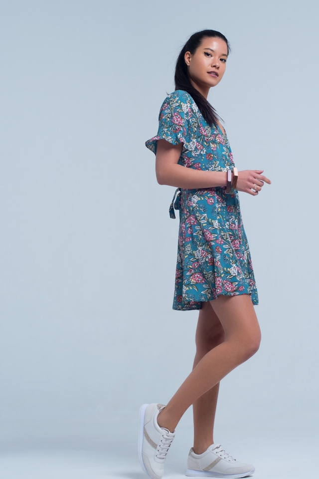 Short sleeve green dress with floral print