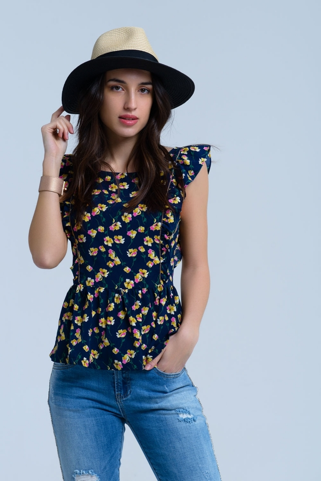 Navy crossed back shirt with ruffles