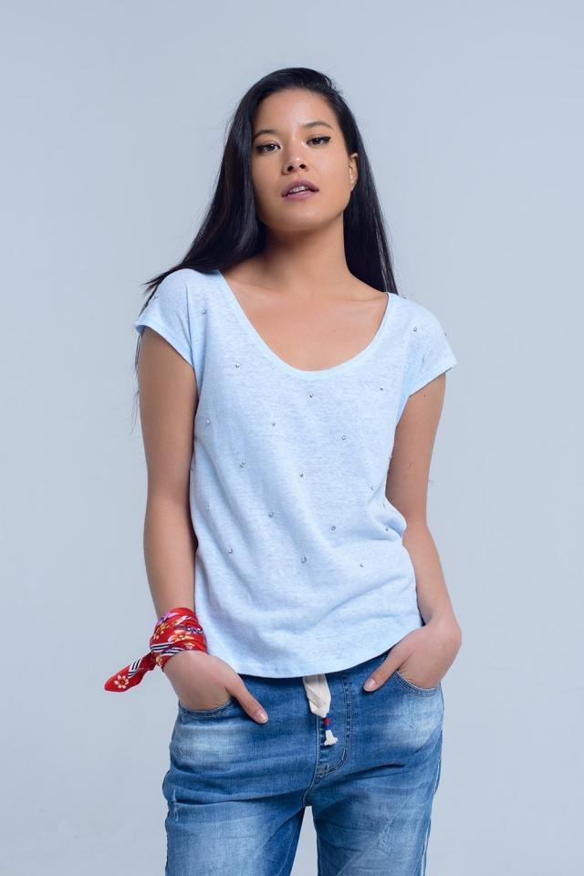 Blaues T-Shirt mit Strasssteinen