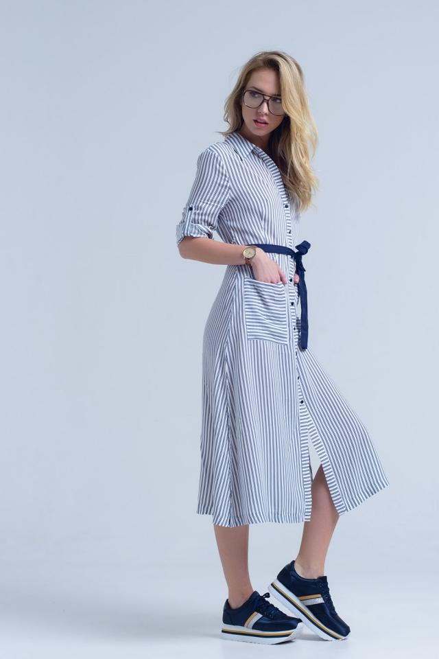 Navy blue midi striped dress