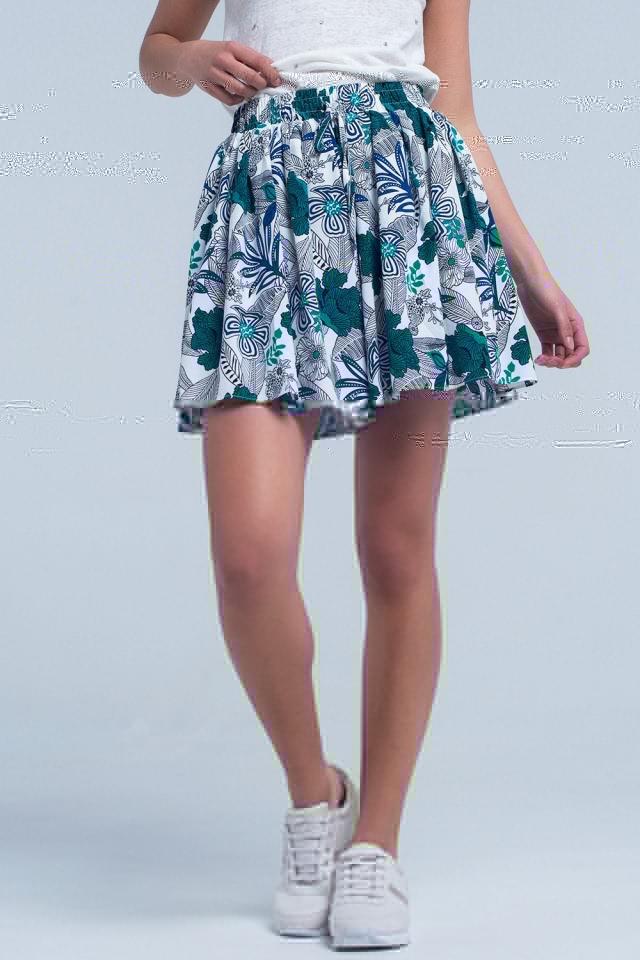 Blue mini skorts with floral print