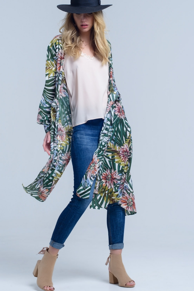 Green longline floral kimono jacket