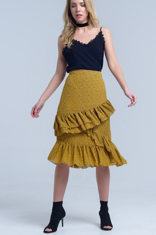 Yellow printed skirt with ruffles