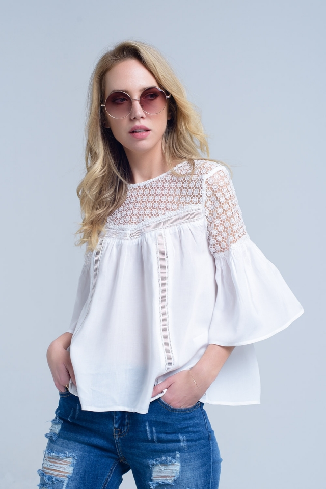 White blouse with crochet detail