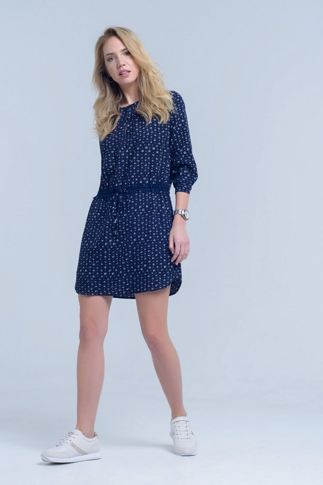 Navy printed dress with lace waist