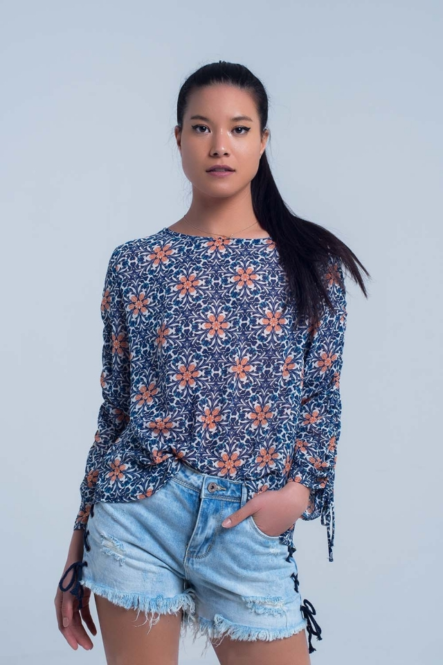 Navy blouse with floral print