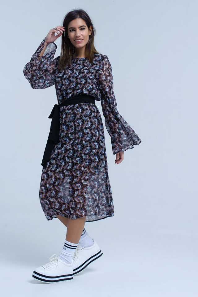 Black printed midi dress with bell sleeve