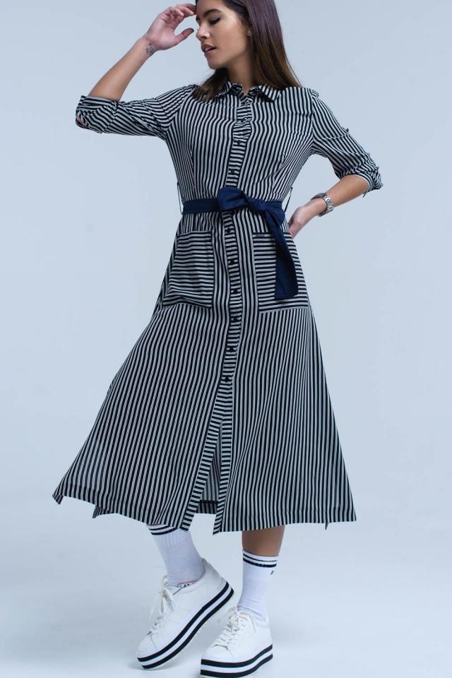 Black midi striped dress