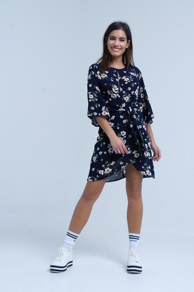 Navy floral print midi dress in chiffon