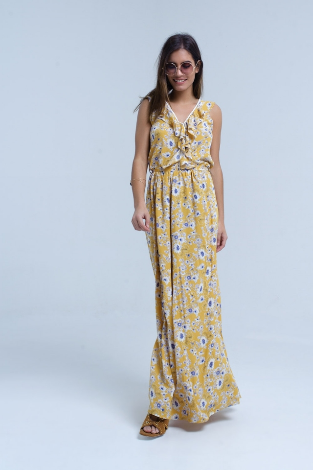 Yellow floral print maxi dress with ruffle detail