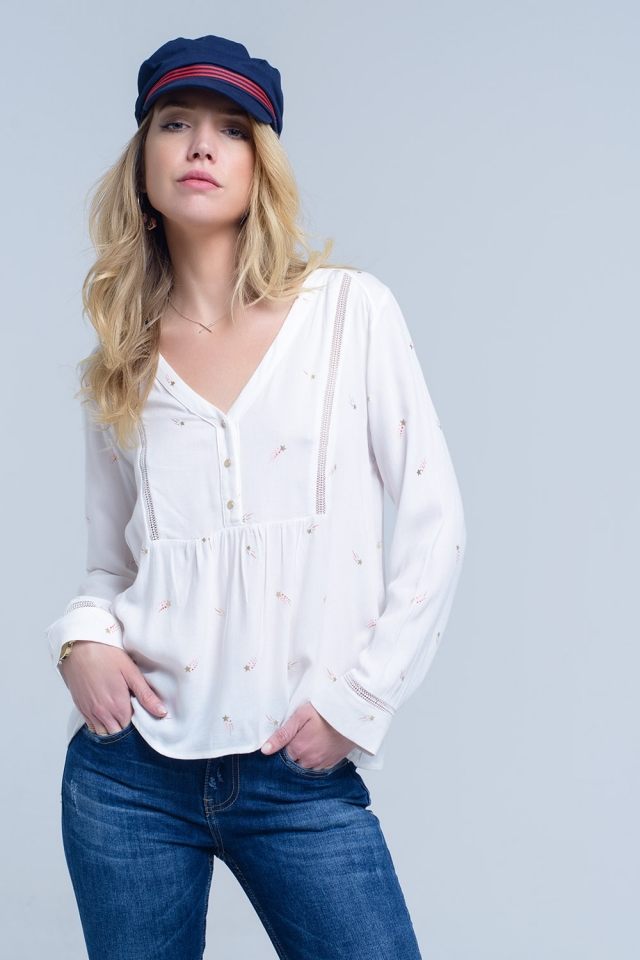 Cream blouse with star print