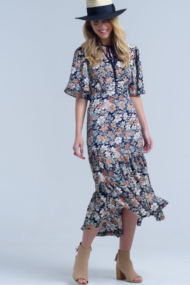 Navy midi dress with floral print and tie neck detail