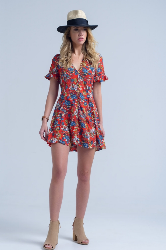 Short sleeve red dress with floral print
