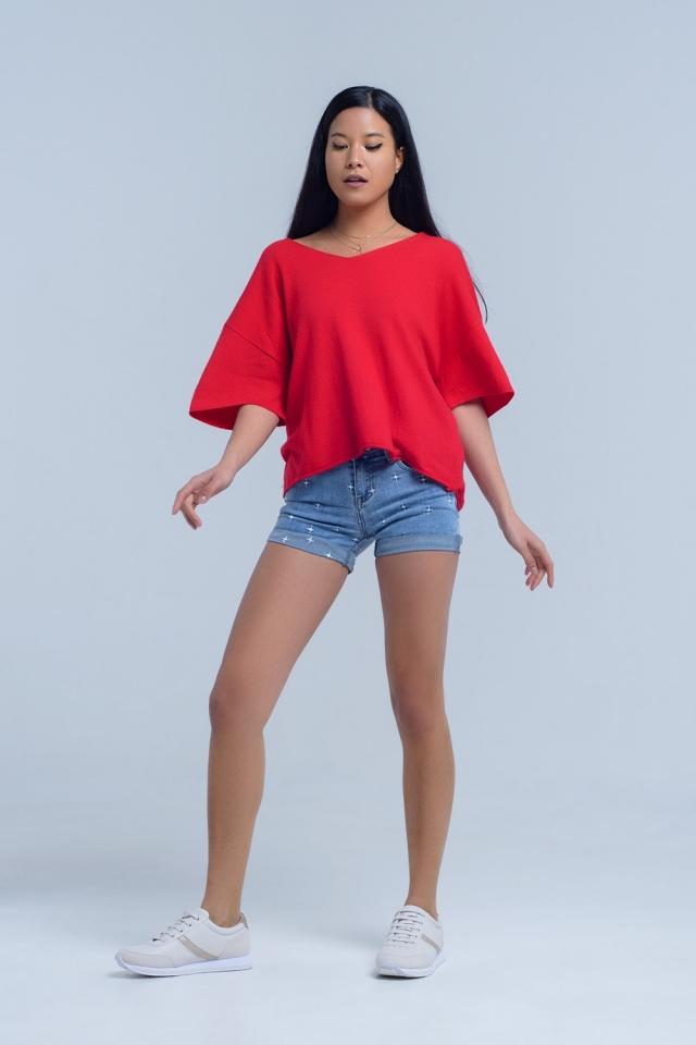 Denim shorts with stars detail