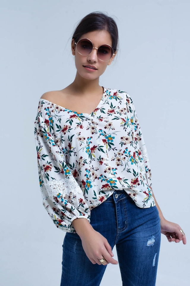 Cream blouse with floral print