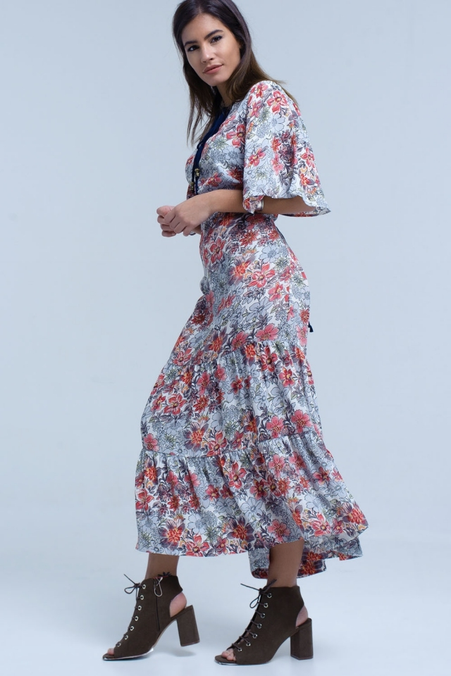 White dress with floral print and tie neck detail