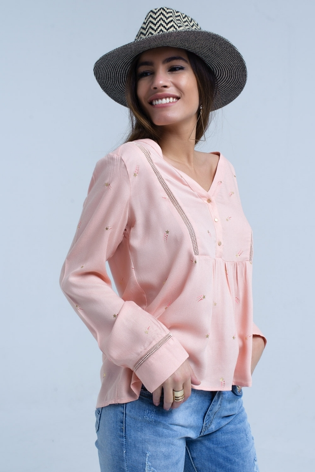 Pink blouse with star print