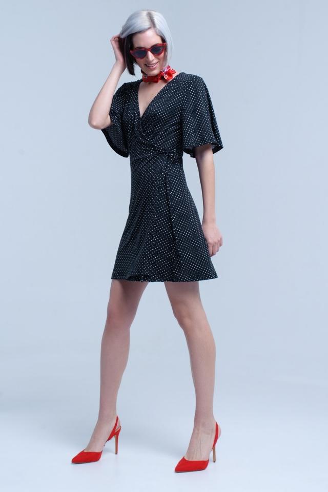 Black wrap front polka dot midi dress