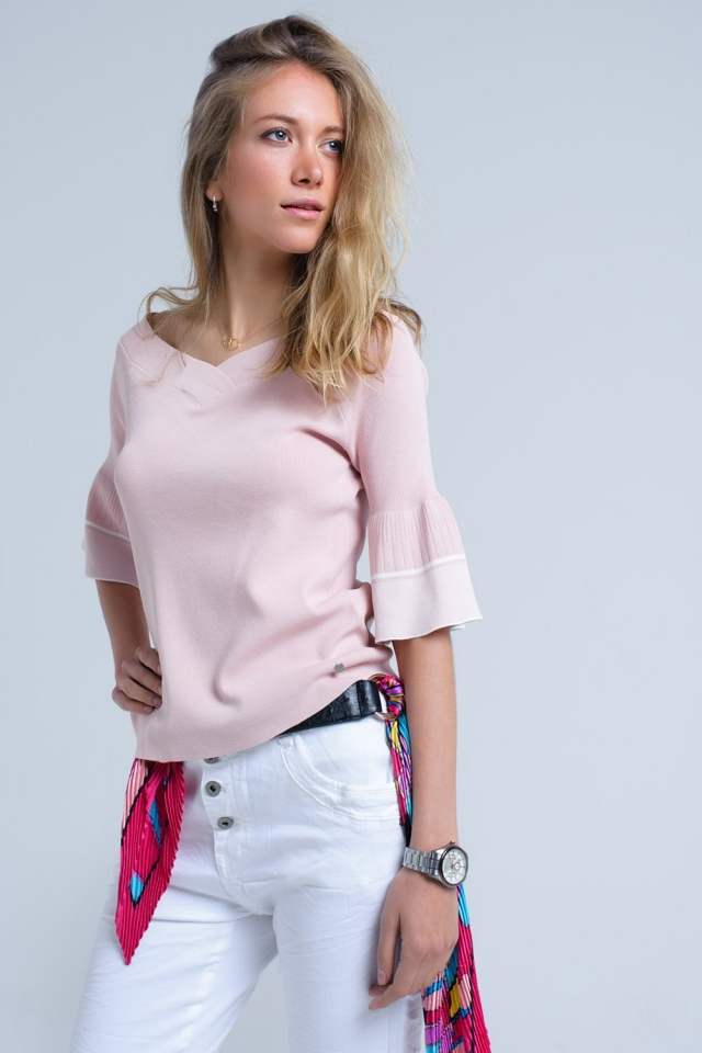 Pink knit sweater with bell sleeve