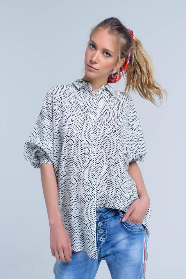 Weißes Longline-Shirt in Polka Dot