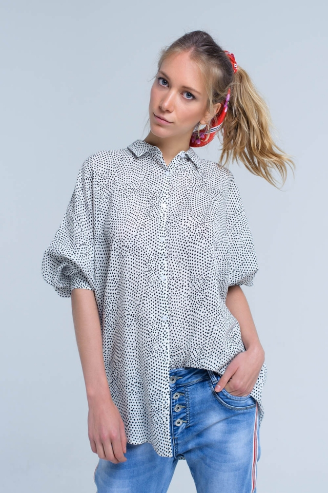 White longline shirt in polka dot