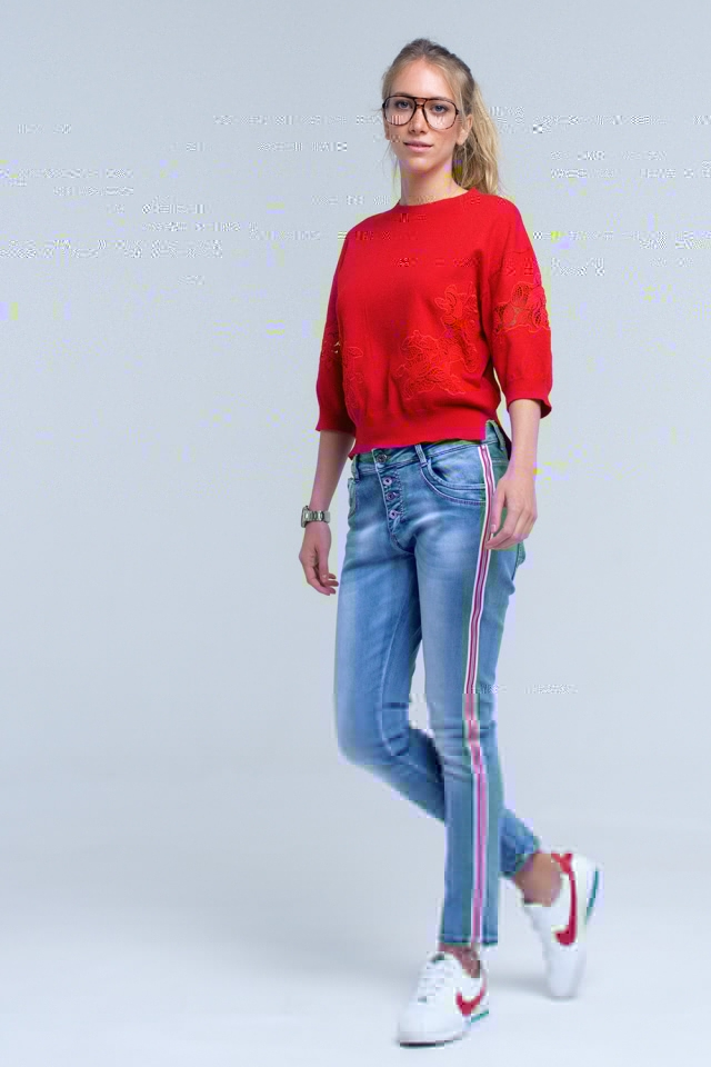Boyfriend jean with side zip and stripe detail