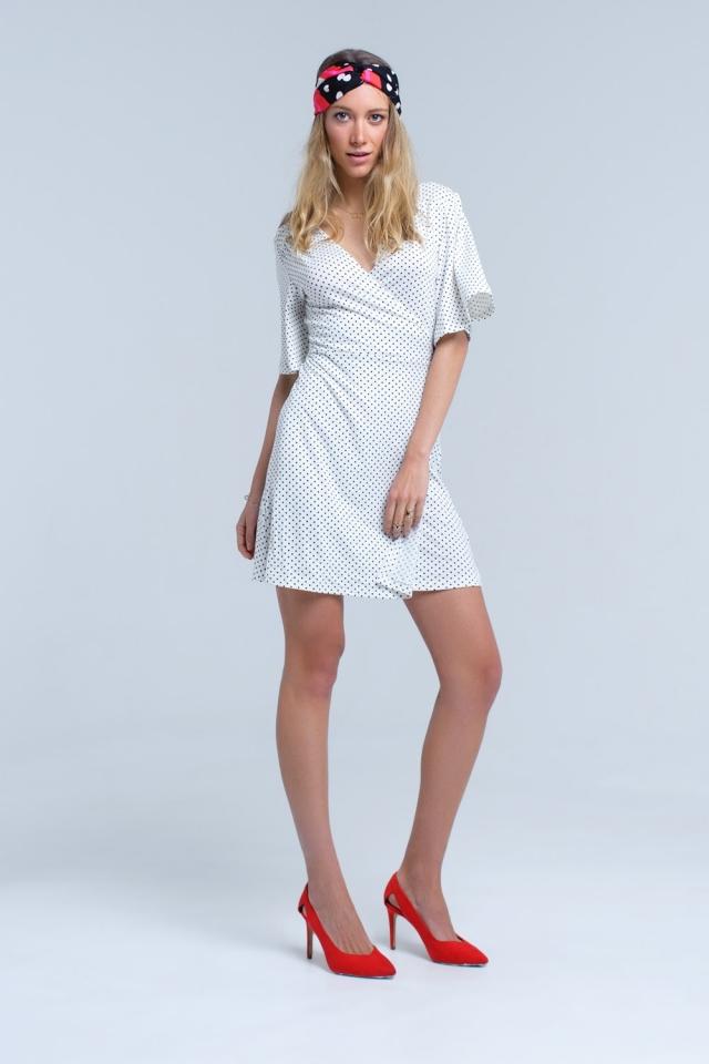 White wrap front polka dot midi dress