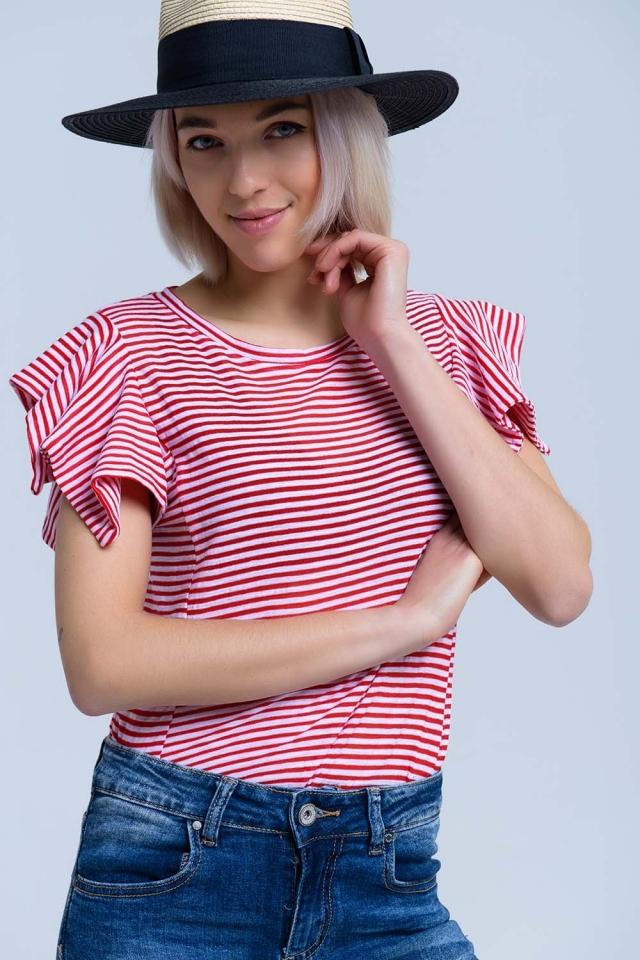 Rot gestreiftes Kurzarm-T-Shirt