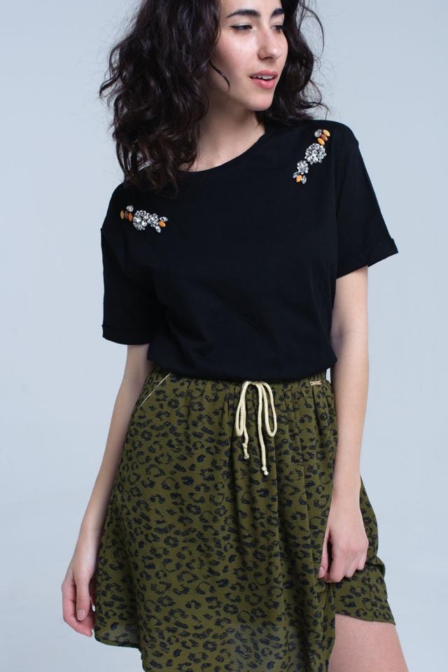 Black t-shirt with crystal rhinestones